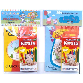 Livro De Colorir + Giz C/ Embalagem E Personalizado Temas