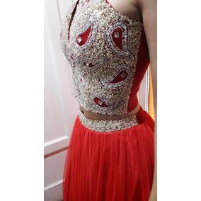 Vestido Fiesta, Egresada, 15 Años, Rojo Largo Y Corto