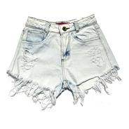 Shorts Jeans Hot Pants Feminino Cintura Alta Desfiado St012