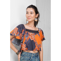 Bata Cropped Estampada Batik Dress To Estilo Farm