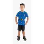 Fantasia Infantil Tamanho G Policial Azul 1044 Brink Model
