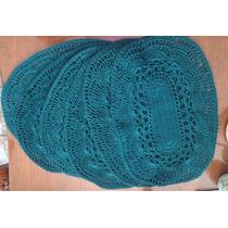 6 Individuales A Crochet /color Turquesa Manteles