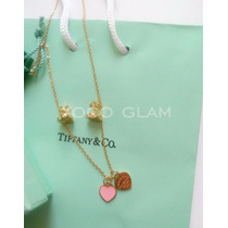 Cadena Y Aretes Set Tiffany Oro Corazon Rosa Acero Inoxidabl