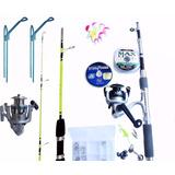 Kit Pesca - 2 Molinetes + 2 Varas + 2 Suporte + Acessórios