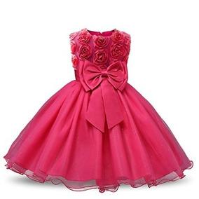 Vestido Formal Fiesta Niña Con Flores 3d Nuevo