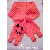 Bufanda Gatito Tejida A Mano Crochet