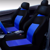 Capa Para Banco De Carro Azul Com Preto + Tapete