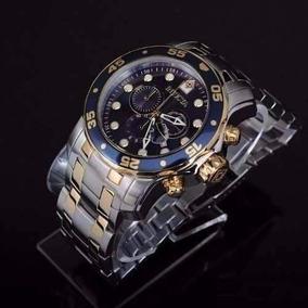 Relógio Invicta Scuba Pro Diver 0077 Prata Dourado Novo C3