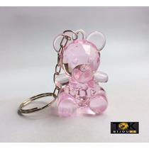 10 Chaveiros Lembrancinha Ursinho Acrílico - Rosa Bebe