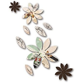 3d Wall Decor, Brown Flowers With Mariposa Print, 9pc