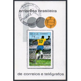 1970 - B-28 Bloco Milésimo Gol De Pelé Carimbo Copa 74
