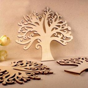 Árvore Folha Mdf Crú Festa Enfeite Aplique Decoração 24cm