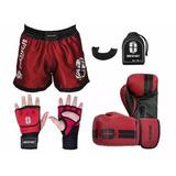 Kit Treino Artes Marciais Muay Thai Boxe Calção + Acessorios