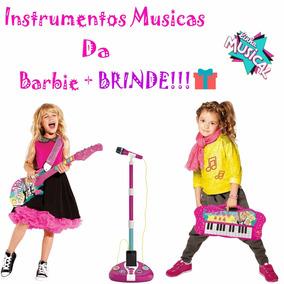 Teclado Barbie + Microfone Barbie + Guitarra Barbie + Brinde