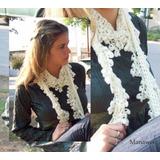 Bufanda Manawee Mujer Crochet Con Flores
