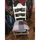 Silla Decoración Shabby Chic Tallada Antigua Patch Vintage