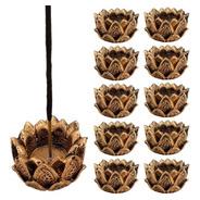Incensário E Castiçal Flor De Lotus Em Resina 5cm. Kit C/10