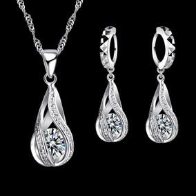 Set Collar Y Aretes De Plata Ley .925 Mujer Zirconias Regalo
