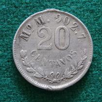 1900 20 Centavos Porfiriano Plata Mo M