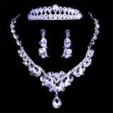 Coroa Tiara Brincos Colar De Cristal Noiva Debutante 15 Anos