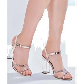 Sandalias 16280 Tacón 10.5 Transparente Plástico Oro Rosa