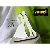 Topo De Bolo Mdf Branco Noivos Para Casamento