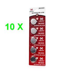 10 Cartelas Total 50 Baterias Litio Mox Cr 2032 3v Val.2020