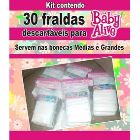 30 Fraldas Desc. P\ Bonecas Baby Alive Grandes E Médias
