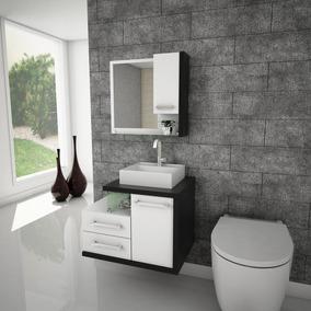 Gabinete Banheiro Completo Legno 65 Branco E Preto Com Cuba
