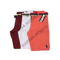 3 Bermuda Masculina Sarja Jeans Cinto De Brinde