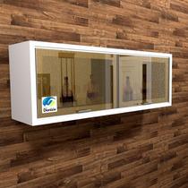 Barzinho Armario Portas Vidro Reflecta - Branco Bar14b