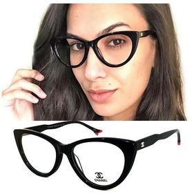 ac9962672 Armação Oculos Grau Feminino Gatinho Ch80510 Black Original