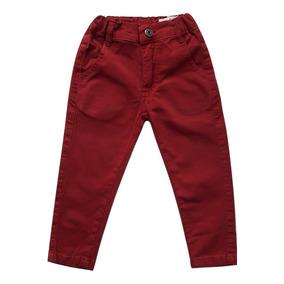 Calça Infantil Menino Sarja Cedrostrech Vermelha Marsala His