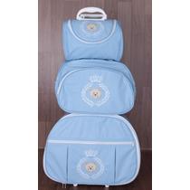 Kit Mala Maternidade 3 Pç Azul Claro De Rodinhas