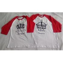 Par Playeras Beisboleras Amor Pareja Corona King Queen
