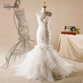 Vestido De Noivas 52904luxo Chic Tulle Strapless Sereia Tri