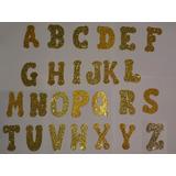 Letras De Eva Dourada Com Glitter Letra P