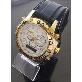 Relógio Masculino Dourado, Pesado Pulseira Emborrachada