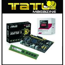 Kit Placa Mãe Asus + Amd Athlon 5350 Quad Core + 4gb Memória