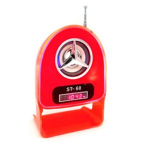 Velikka Bocina Retro Recargable Usb Fm Led Neon St-60 Rojo