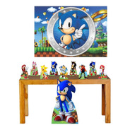 Super Kit Decoração Festa Totem Display Sonic Painel 100x70