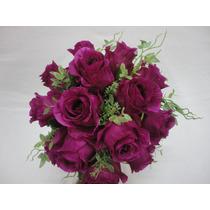 Buque Rosas Noiva Vinho Bouquet Casamento Artificial
