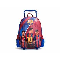 Mochila Carrito Carro Barcelona Messi Escolar Reforzada N2m