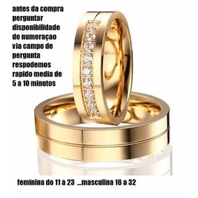 Par De Alianças Noivado Casamento Banhada 6mm.com Pedras
