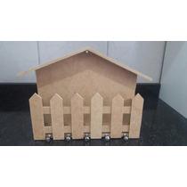 Porta Chaves / Porta Cartas Casinha Com Cerca Mdf Cru