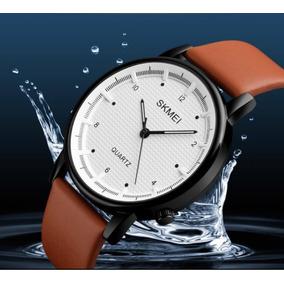 Relógio De Pulso Couro - Skmei 1210 - Bege & Branco