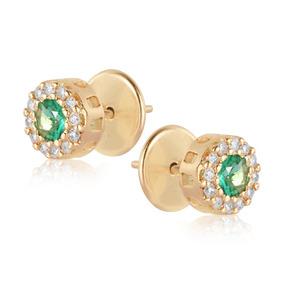 Brinco Em Ouro 18k Esmeralda Com Diamante 24 Pontos por Rosana Joias e  Relógios b1203edcd0