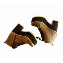 Botitas Borcegos Zapatos Mujer Botas Cortas Plataforma Taco