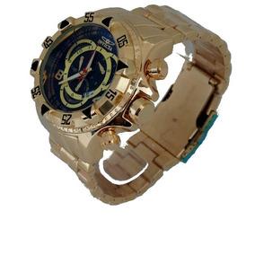 Relógio Masculino Dourado Ouro Prata Grande Pesado + Caixa