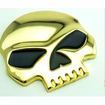 Adesivo Tuninng Liga Metal Caveira Cool Dourado